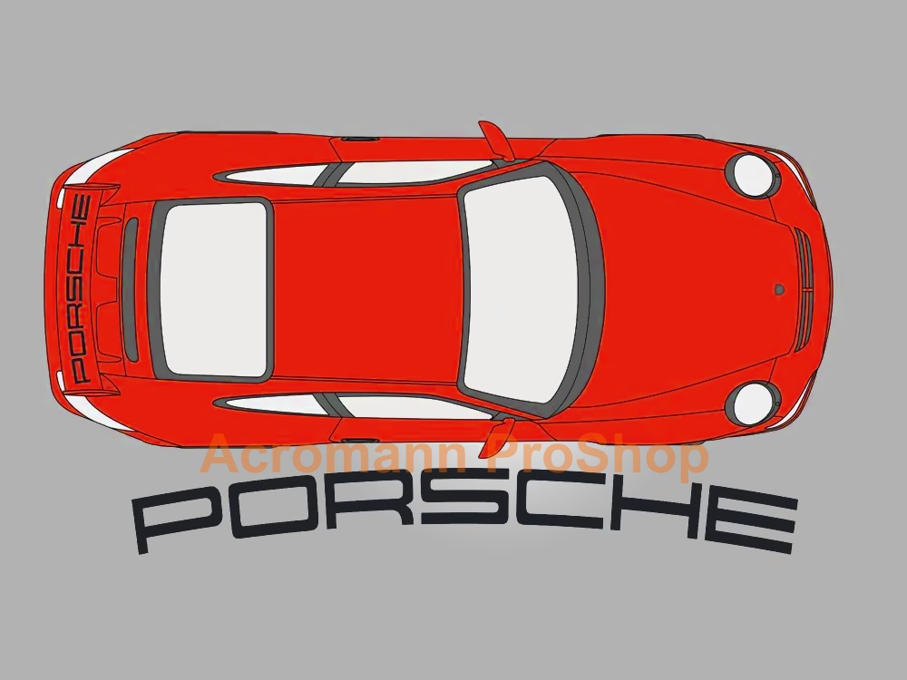 Porsche 997 GT3 Rear Wing Decal - Curved